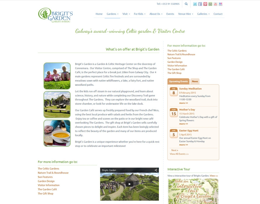 Visitor centre tourist garden responsive web design for Garden design galway